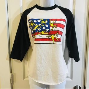 Obey Keith Haring Ringer 3/4 T-Shirt